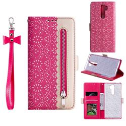 Luxury Lace Zipper Stitching Leather Phone Wallet Case for Mi Xiaomi Redmi Note 8 Pro - Rose