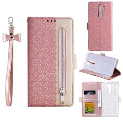 Luxury Lace Zipper Stitching Leather Phone Wallet Case for Mi Xiaomi Redmi Note 8 Pro - Pink