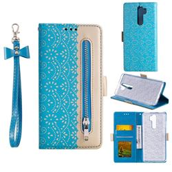 Luxury Lace Zipper Stitching Leather Phone Wallet Case for Mi Xiaomi Redmi Note 8 Pro - Blue