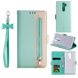 Luxury Lace Zipper Stitching Leather Phone Wallet Case for Mi Xiaomi Redmi Note 8 Pro - Green