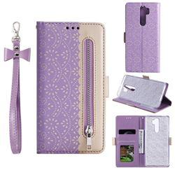 Luxury Lace Zipper Stitching Leather Phone Wallet Case for Mi Xiaomi Redmi Note 8 Pro - Purple