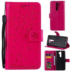 Embossing Cherry Blossom Cat Leather Wallet Case for Mi Xiaomi Redmi Note 8 Pro - Rose