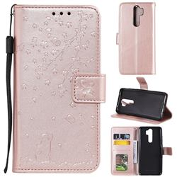 Embossing Cherry Blossom Cat Leather Wallet Case for Mi Xiaomi Redmi Note 8 Pro - Rose Gold