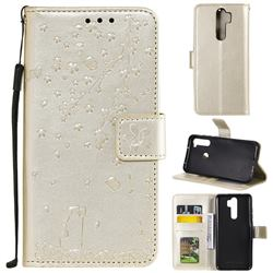 Embossing Cherry Blossom Cat Leather Wallet Case for Mi Xiaomi Redmi Note 8 Pro - Golden