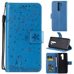 Embossing Cherry Blossom Cat Leather Wallet Case for Mi Xiaomi Redmi Note 8 Pro - Blue