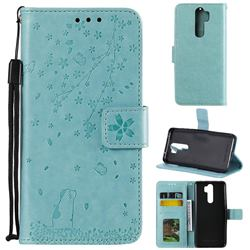 Embossing Cherry Blossom Cat Leather Wallet Case for Mi Xiaomi Redmi Note 8 Pro - Green