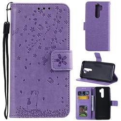 Embossing Cherry Blossom Cat Leather Wallet Case for Mi Xiaomi Redmi Note 8 Pro - Purple