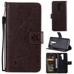 Embossing Cherry Blossom Cat Leather Wallet Case for Mi Xiaomi Redmi Note 8 Pro - Brown