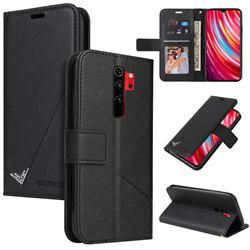 GQ.UTROBE Right Angle Silver Pendant Leather Wallet Phone Case for Mi Xiaomi Redmi Note 8 Pro - Black
