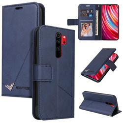 GQ.UTROBE Right Angle Silver Pendant Leather Wallet Phone Case for Mi Xiaomi Redmi Note 8 Pro - Blue