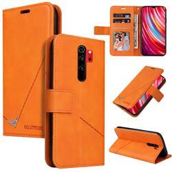 GQ.UTROBE Right Angle Silver Pendant Leather Wallet Phone Case for Mi Xiaomi Redmi Note 8 Pro - Orange