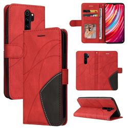 Luxury Two-color Stitching Leather Wallet Case Cover for Mi Xiaomi Redmi Note 8 Pro - Red