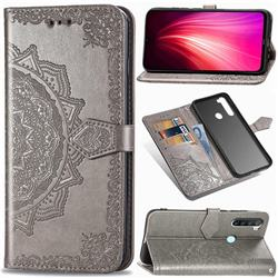 Embossing Imprint Mandala Flower Leather Wallet Case for Mi Xiaomi Redmi Note 8T - Gray