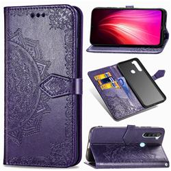 Embossing Imprint Mandala Flower Leather Wallet Case for Mi Xiaomi Redmi Note 8T - Purple