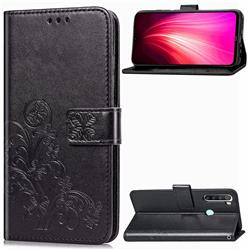 Embossing Imprint Four-Leaf Clover Leather Wallet Case for Mi Xiaomi Redmi Note 8T - Black