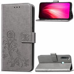 Embossing Imprint Four-Leaf Clover Leather Wallet Case for Mi Xiaomi Redmi Note 8T - Grey