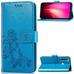 Embossing Imprint Four-Leaf Clover Leather Wallet Case for Mi Xiaomi Redmi Note 8T - Blue