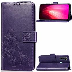 Embossing Imprint Four-Leaf Clover Leather Wallet Case for Mi Xiaomi Redmi Note 8T - Purple