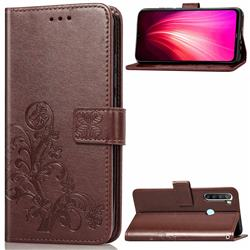 Embossing Imprint Four-Leaf Clover Leather Wallet Case for Mi Xiaomi Redmi Note 8T - Brown
