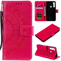 Intricate Embossing Datura Leather Wallet Case for Mi Xiaomi Redmi Note 8T - Rose Red