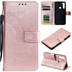 Intricate Embossing Datura Leather Wallet Case for Mi Xiaomi Redmi Note 8T - Rose Gold