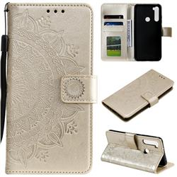 Intricate Embossing Datura Leather Wallet Case for Mi Xiaomi Redmi Note 8T - Golden