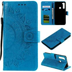 Intricate Embossing Datura Leather Wallet Case for Mi Xiaomi Redmi Note 8T - Blue