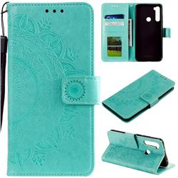 Intricate Embossing Datura Leather Wallet Case for Mi Xiaomi Redmi Note 8T - Mint Green