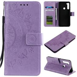 Intricate Embossing Datura Leather Wallet Case for Mi Xiaomi Redmi Note 8T - Purple