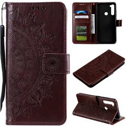 Intricate Embossing Datura Leather Wallet Case for Mi Xiaomi Redmi Note 8T - Brown