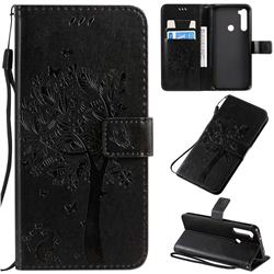 Embossing Butterfly Tree Leather Wallet Case for Mi Xiaomi Redmi Note 8T - Black