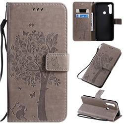 Embossing Butterfly Tree Leather Wallet Case for Mi Xiaomi Redmi Note 8T - Grey