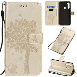 Embossing Butterfly Tree Leather Wallet Case for Mi Xiaomi Redmi Note 8T - Champagne