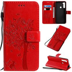 Embossing Butterfly Tree Leather Wallet Case for Mi Xiaomi Redmi Note 8T - Red