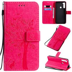 Embossing Butterfly Tree Leather Wallet Case for Mi Xiaomi Redmi Note 8T - Rose
