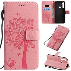 Embossing Butterfly Tree Leather Wallet Case for Mi Xiaomi Redmi Note 8T - Pink