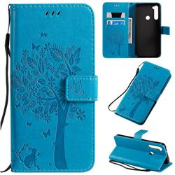 Embossing Butterfly Tree Leather Wallet Case for Mi Xiaomi Redmi Note 8T - Blue