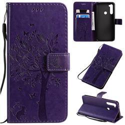 Embossing Butterfly Tree Leather Wallet Case for Mi Xiaomi Redmi Note 8T - Purple