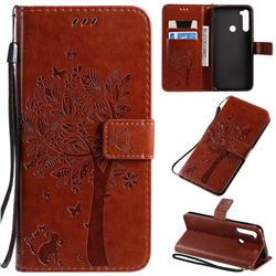 Embossing Butterfly Tree Leather Wallet Case for Mi Xiaomi Redmi Note 8T - Coffee