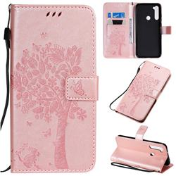 Embossing Butterfly Tree Leather Wallet Case for Mi Xiaomi Redmi Note 8T - Rose Pink
