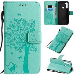 Embossing Butterfly Tree Leather Wallet Case for Mi Xiaomi Redmi Note 8T - Cyan