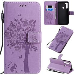 Embossing Butterfly Tree Leather Wallet Case for Mi Xiaomi Redmi Note 8T - Violet