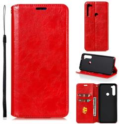 Retro Slim Magnetic Crazy Horse PU Leather Wallet Case for Mi Xiaomi Redmi Note 8T - Red