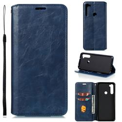 Retro Slim Magnetic Crazy Horse PU Leather Wallet Case for Mi Xiaomi Redmi Note 8T - Blue