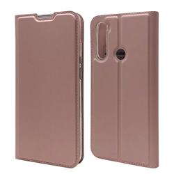 Ultra Slim Card Magnetic Automatic Suction Leather Wallet Case for Mi Xiaomi Redmi Note 8T - Rose Gold