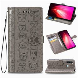Embossing Dog Paw Kitten and Puppy Leather Wallet Case for Mi Xiaomi Redmi Note 8T - Gray