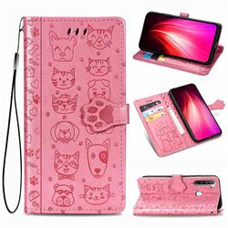 Embossing Dog Paw Kitten and Puppy Leather Wallet Case for Mi Xiaomi Redmi Note 8T - Pink