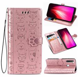 Embossing Dog Paw Kitten and Puppy Leather Wallet Case for Mi Xiaomi Redmi Note 8T - Rose Gold