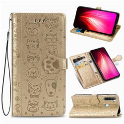 Embossing Dog Paw Kitten and Puppy Leather Wallet Case for Mi Xiaomi Redmi Note 8T - Champagne Gold