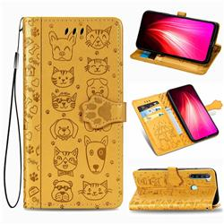 Embossing Dog Paw Kitten and Puppy Leather Wallet Case for Mi Xiaomi Redmi Note 8T - Yellow